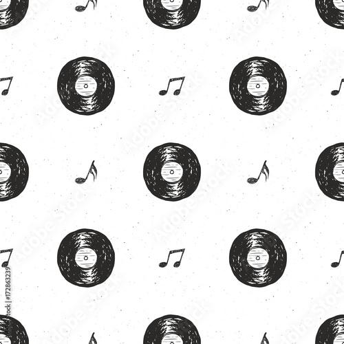 plyta-winylowa-vintage-wzor-bezszwowe-ciagnione-etykieta-szkic-grunge-teksturowanej-odznaka-retro-typografia-projektowanie-t-shirt-drukowanie-ilustracji-wektorowych