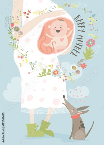 Pregnancy concept card in cartoon style