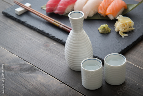 japanese sake and sushi