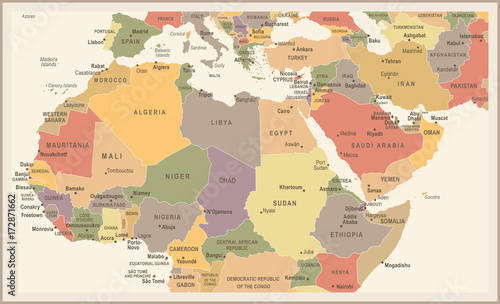 North Africa Map - Vintage Vector Illustration – kaufen Sie diese ...