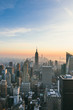 View of New York City at sunset with copy space.