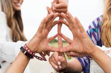 Hands Of Hippie Friends Showin...