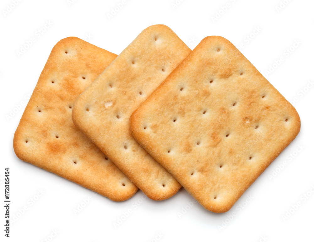 Fototapeta Dry cracker cookies isolated on white background cutout