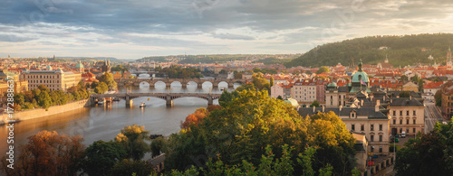 Foto op Plexiglas Praag Evening Prague from Letenske sady