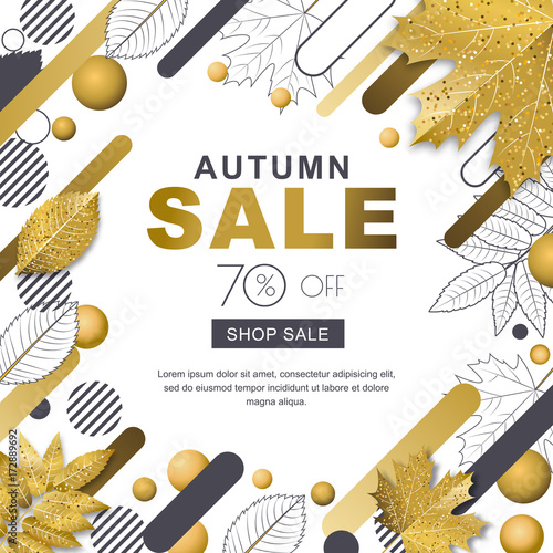 Autumn sale banner  Square frame with 3d style gold outline