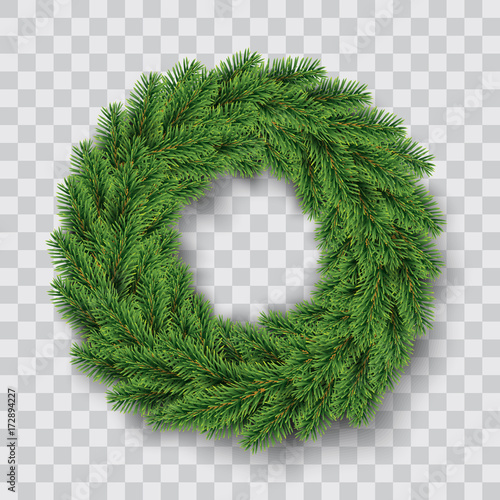 Stampa su Tela vector green christmas wreath