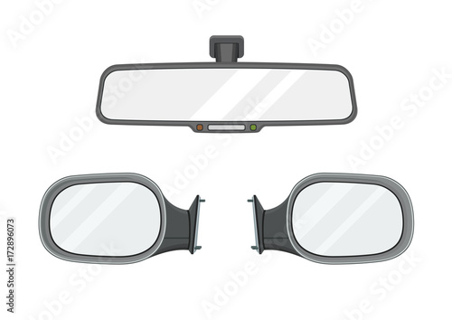 Rear view mirrors. Realistic set. Vector illustration. Canvas Print