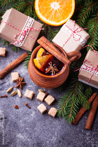 Tuinposter Kruiderij Mulled wine, winter hot drink