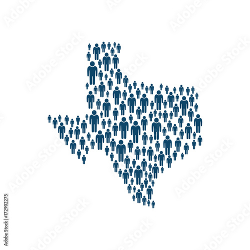 Concept of Texas Population in Map. Vector Design Fototapet