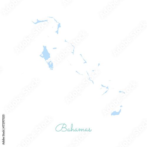 Photo sur Toile Oiseaux sur arbre Bahamas region map: colorful with white outline. Detailed map of Bahamas regions. Vector illustration.
