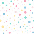 Colorful polka dots seamless pattern on white 9 background. Gorgeous classic colorful polka dots textile pattern. Seamless scattered confetti fall chaotic decor. Abstract vector illustration.