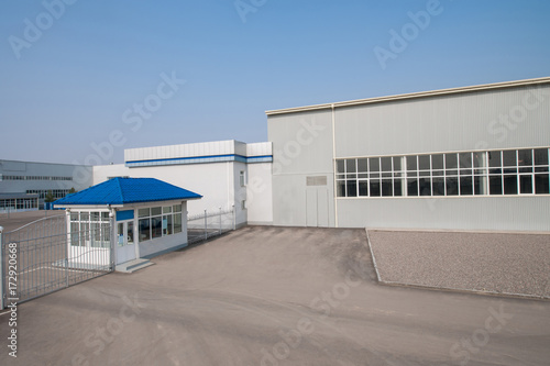 Staande foto Industrial geb. general view of the factory with a checkpoint and fence