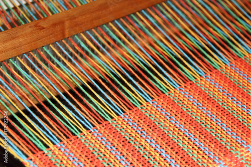 Slika na platnu looms, loom fittings, woven scarves, colored yarns white backgrounds