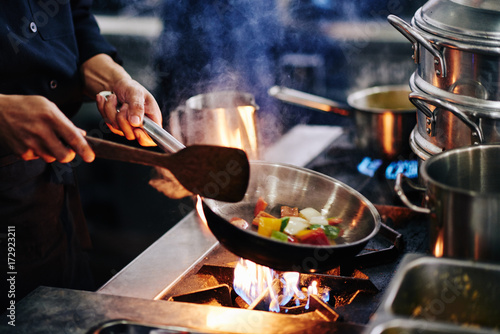 Fotografie, Obraz  Frying vegetables