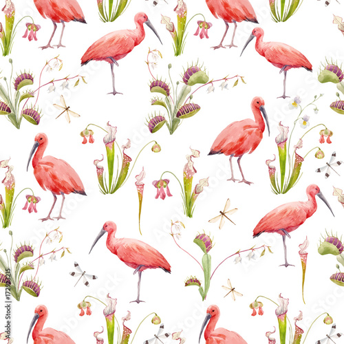 Canvas Prints Flamingo Bird Watercolor tropical vector pattern