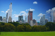 Panoramic view of Manhattan from Central Park in a beautiful summer day