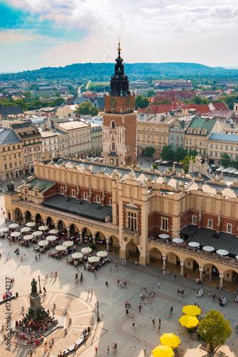 Fototapeta Poland. The old street of Krakow. The center of the city. Summer. Blue Sky. Travel. Background.   obraz