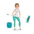 Young woman housewife washes a floor mop. Girl doing domestic wo