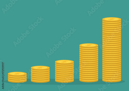 Fototapeta Gold coin stacks icon in shape of diagram. Dollar sign symbol. Cash money. Going up graph. Income and profits. Growing business concept. Isolated. Green background. Flat design. obraz