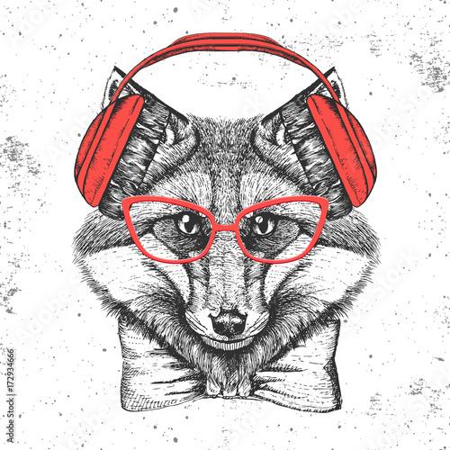 Croquis dessinés à la main des animaux Hipster animal fox. Hand drawing Muzzle of animal fox