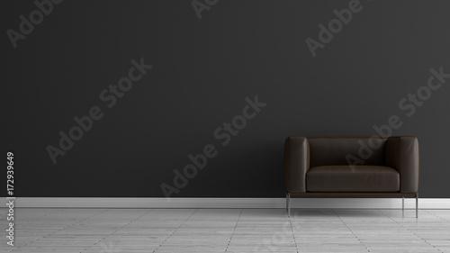 Fototapety, obrazy: Ledersessel vor dunkelgrauer Wand auf weissem Holzboden