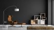 Leinwanddruck Bild - Modernes Wohnzimmer mit dunkelgrauer Wand
