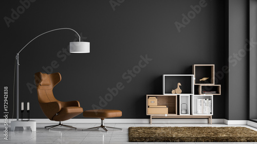 Fotografie, Obraz  Modernes Wohnzimmer mit dunkelgrauer Wand