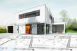 Leinwanddruck Bild - Dessin d'une maison d'architecte avec plan