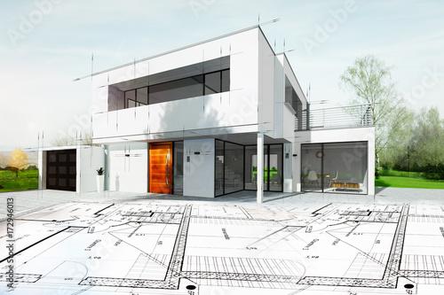 Fototapeta Dessin d'une maison d'architecte avec plan obraz