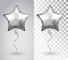 Star Silver Balloon On Transpa...
