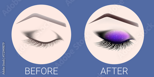 Сlosed female eye before and after a make-up and design of ...