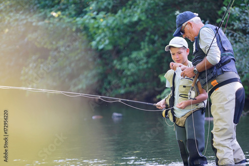 Printed kitchen splashbacks Fishing Father teaching son how to fly-fish in river