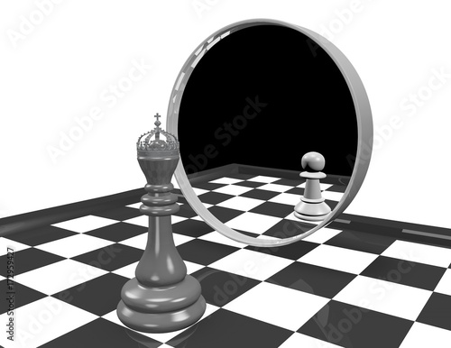 Fotografie, Obraz  Low self esteem, inferiority complex concept with chess king and chess pawn reflection in mirror