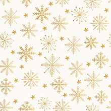 Golden Snowflake Pattern. Vector Illustration.