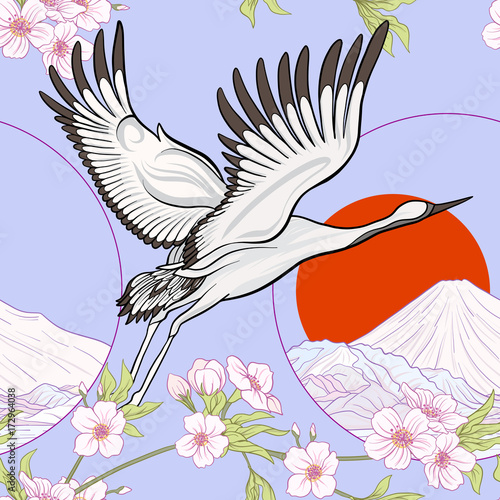 Cotton fabric Seamless pattern with Japanese crane and chrysanthemum in Japane