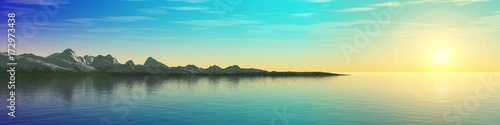 panorama of the sea sunset, the sun above the ocean, the mountains above the water, 3d rendering
