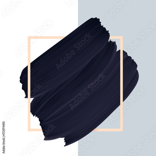 Fotomural Black vector paint brush textured smudge isolated on white background in frame