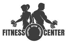 Fitness Center Emblem With Sil...