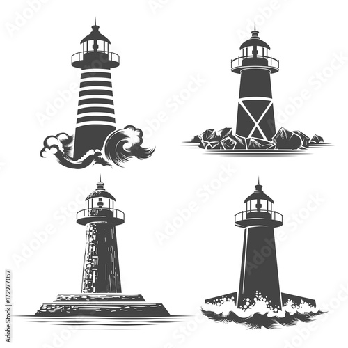 Lighthouse emblem Set Wall mural