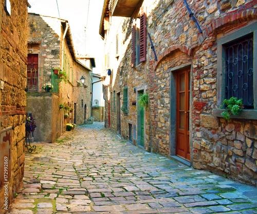 Fotografie, Obraz  antico vicolo in pietra nel borgo medievale di Montefioralle in Toscana