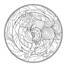 Mandala With Cat. Zentangle. H...