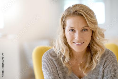 Fotografie, Obraz  Portrait of beautiful 40-year-old blond woman