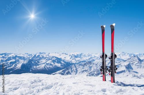 Poster Wintersporten Winter holiday landscape