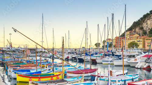Spoed Foto op Canvas Nice The Port of Nice, France at dawn