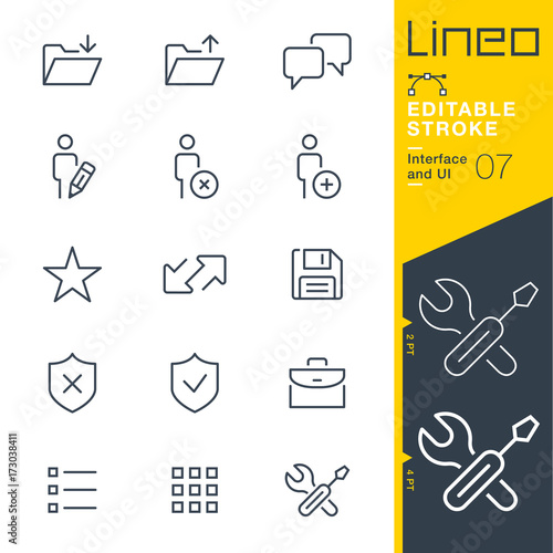 Lineo Editable Stroke - Interface and UI line icons Vector Icons - Adjust strok Canvas Print
