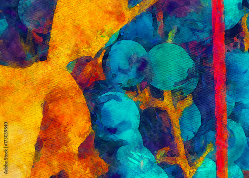 Autumn juicy blue grapes. Yellow grape leaves. Painted on canvas watercolor and oil artwork. Good for printed picture, design postcard, posters and wallpapers. Can be use as colorful artistic texture. - 173039640