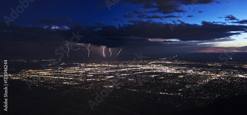 A Thunderstorm After Dusk Over Albuquerque, New Mexico Wallpaper Mural