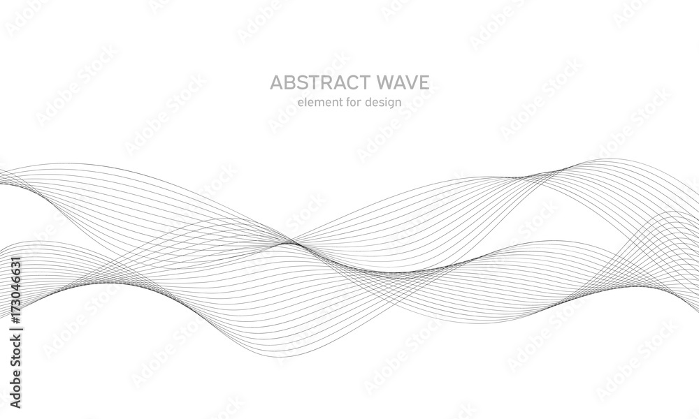 Fototapety, obrazy: Abstract wave element for design. Digital frequency track equalizer. Stylized line art background. Vector illustration. Wave with lines created using blend tool. Curved wavy line, smooth stripe.