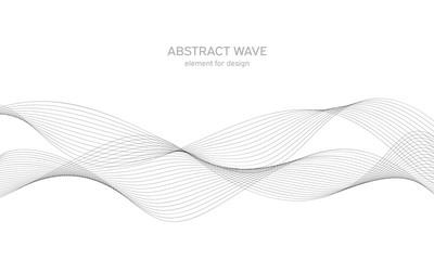 Apstraktni valni element za dizajn. Digitalni ekvalizator traka frekvencija. Stilizirana linija pozadine umjetnosti. Vektorska ilustracija. Val s linijama izrađenim pomoću alata za miješanje. Zakrivljena valovita linija, glatka pruga.