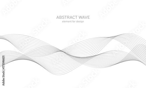 Spoed Foto op Canvas Abstract wave Abstract wave element for design. Digital frequency track equalizer. Stylized line art background. Vector illustration. Wave with lines created using blend tool. Curved wavy line, smooth stripe.